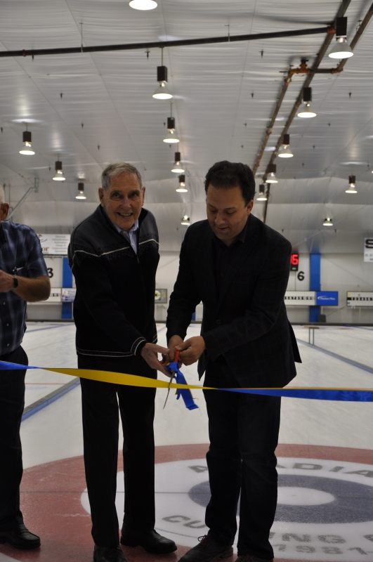 ARC Seniors curler Dan Scrivens and Hon. Jonathon Denis MLA - photo by Lauren Hone